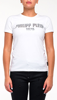 Белая футболка Philipp Plein с бусинами, фото