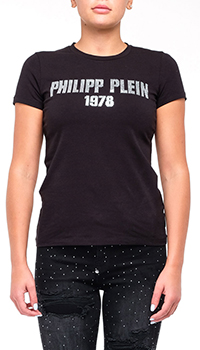 Женская футболка Philipp Plein с брендовым декором, фото