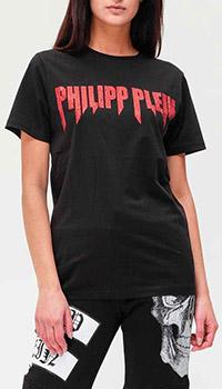 Черная футболка Philipp Plein с логотипом и стразами, фото
