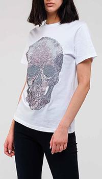 Белая футболка Philipp Plein с изображением черепа, фото