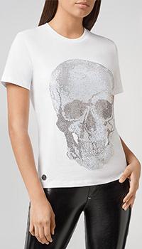 Белая футболка Philipp Plein с черепом из страз, фото