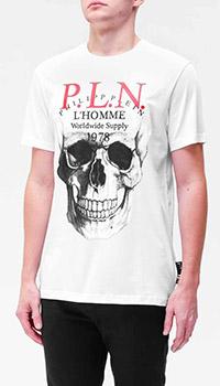 Белая футболка Philipp Plein с рисунком черепа, фото