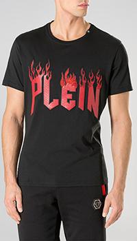 Футболка Philipp Plein с рисунком огня и логотипом, фото