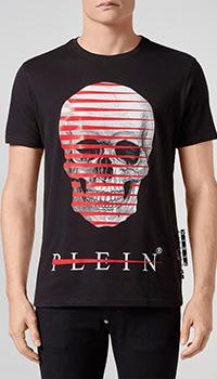 Черная мужская футболка Philipp Plein с черепом, фото