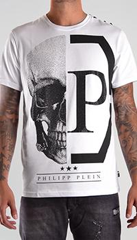 Белая футболка Philipp Plein с большим рисунком черепа, фото
