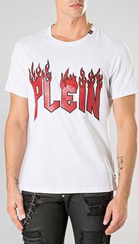 Белая футболка Philipp Plein с принтом горящих букв, фото