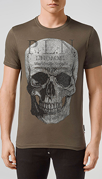 Коричневая футболка Philipp Plein с черепом из камней, фото