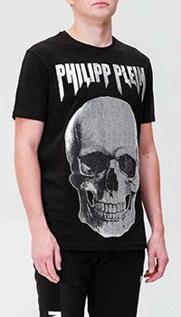 Черная футболка Philipp Plein с фирменным принтом, фото