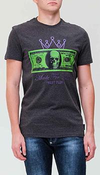 Серая футболка Philipp Plein с принтом и вышивкой, фото