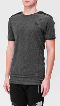 Хлопковая футболка Philipp Plein серого цвета, фото