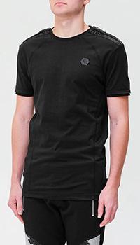Однотонная футболка Philipp Plein с брендовым декором, фото