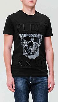 Черная футболка Philipp Plein с рисунком в виде черепа, фото