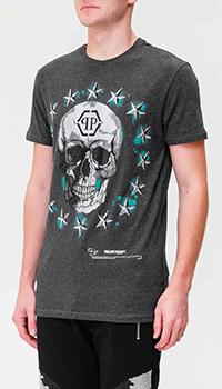 Серая футболка Philipp Plein с черепом из кристаллов, фото