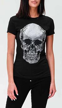 Черная футболка Philipp Plein с принтом-черепом, фото