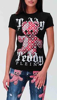 Черная футболка Philipp Plein с принтом-медведем, фото