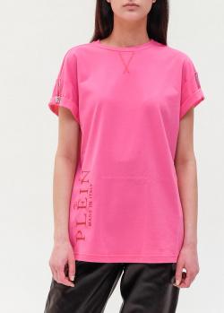 Удлиненная футболка Philipp Plein розового цвета, фото