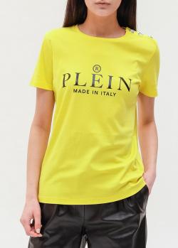 Желтая футболка Philipp Plein с логотипом, фото