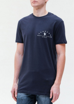 Синяя футболка Philipp Plein с логотипом на груди, фото