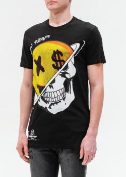 Черная футболка Philipp Plein с ярким принтом, фото