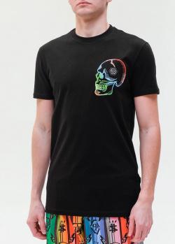 Черная футболка Philipp Plein с разноцветным черепом, фото