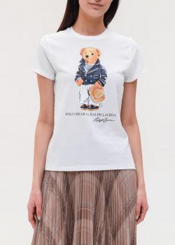 Белая футболка Polo Ralph Lauren с рисунком медведя, фото