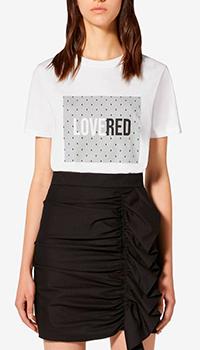 Белая футболка Red Valentino с крупной надписью, фото