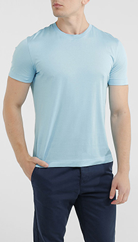 Однотонная футболка Della Ciana голубого цвета, фото