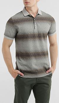 Бежевая футболка-поло Capobianco с принтом, фото