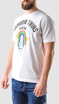 Белая футболка Dsquared2 с изображением радуги, фото