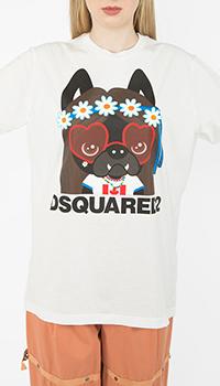 Белая футболка Dsquared2 с принтом в виде собаки, фото
