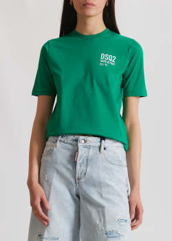 Зеленая футболка Dsquared2 с принтом, фото