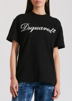Черная футболка Dsquared2 с брендовым принтом, фото