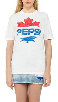 Белая футболка Dsquared2 с брендовым принтом, фото