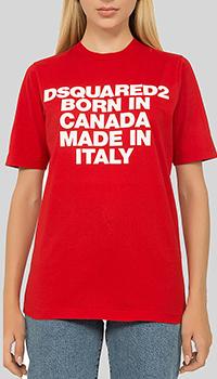 Хлопковая футболка Dsquared2 красного цвета, фото