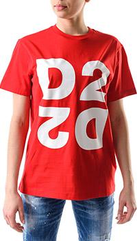 Красная футболка Dsquared2 с эмблемой бренда, фото