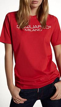 Красная футболка Dsquared2 с принтом-лого, фото