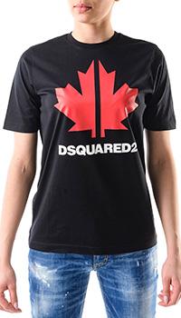 Черная футболка Dsquared2 с кленовым листом, фото