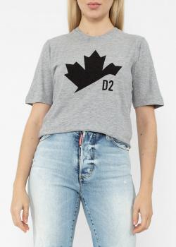 Серая футболка Dsquared2 с кленовым листом, фото