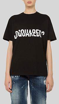 Черная футболка Dsquared2 с принтом, фото