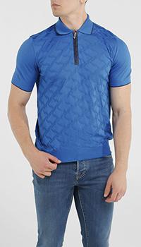 Поло Bertolo из шелка синего цвета, фото