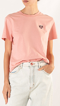 Розовая футболка Sandro с логотипом, фото