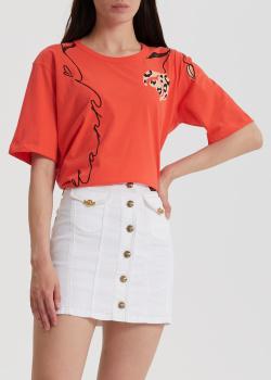 Коралловая футболка Marni с завязками на спине, фото