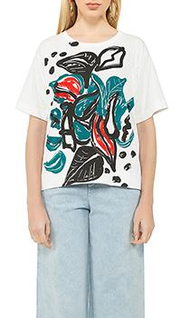 Белая футболка Marni с абстрактным принтом, фото