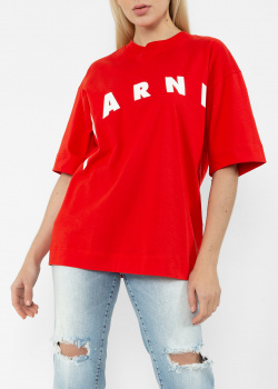 Хлопковая футболка Marni красного цвета, фото