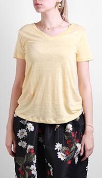 Льняная футболка Max&Moi желтого цвета, фото