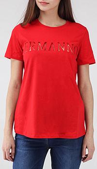 Красная футболка Ermanno Scervino с прозрачной брендовой вставкой, фото