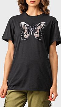 Черная футболка Twin-Set с вышивкой, фото