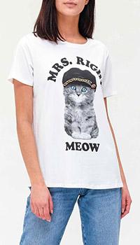 Белая футболка Twin-Set с изображением кота, фото