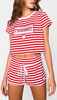 Короткая футболка Twin-Set в полоску, фото
