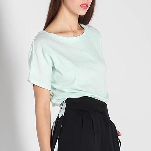 Трикотажная футболка Balmain мятного цвета, фото